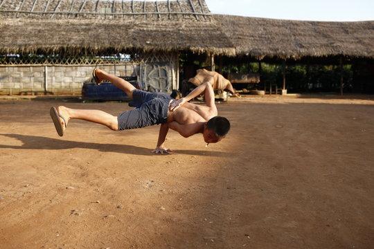 Break dancing in the refugee camp