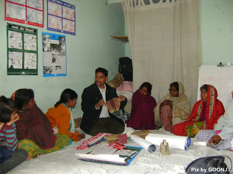 Team member explaining about menstrual hygiene!