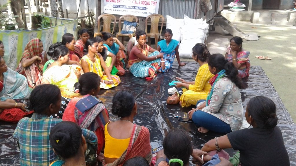 Educating village women about Goonj's MY Pad