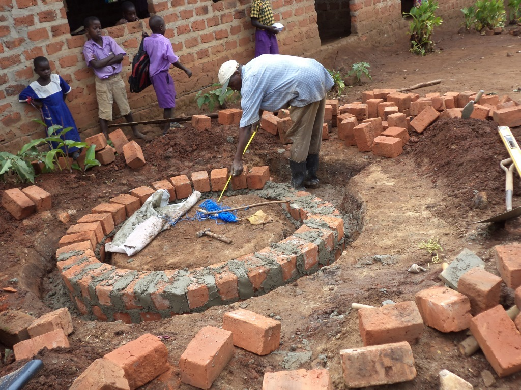 Constructing the base with bunt bricks
