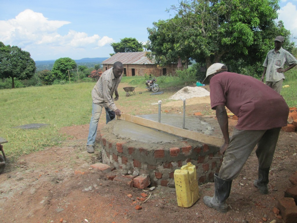 Leveling the concrete during base construction