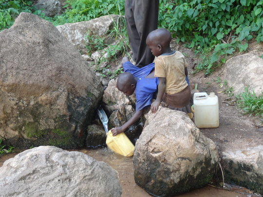 Collecting water at the source. A very slow proces