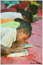 Children learning to write..