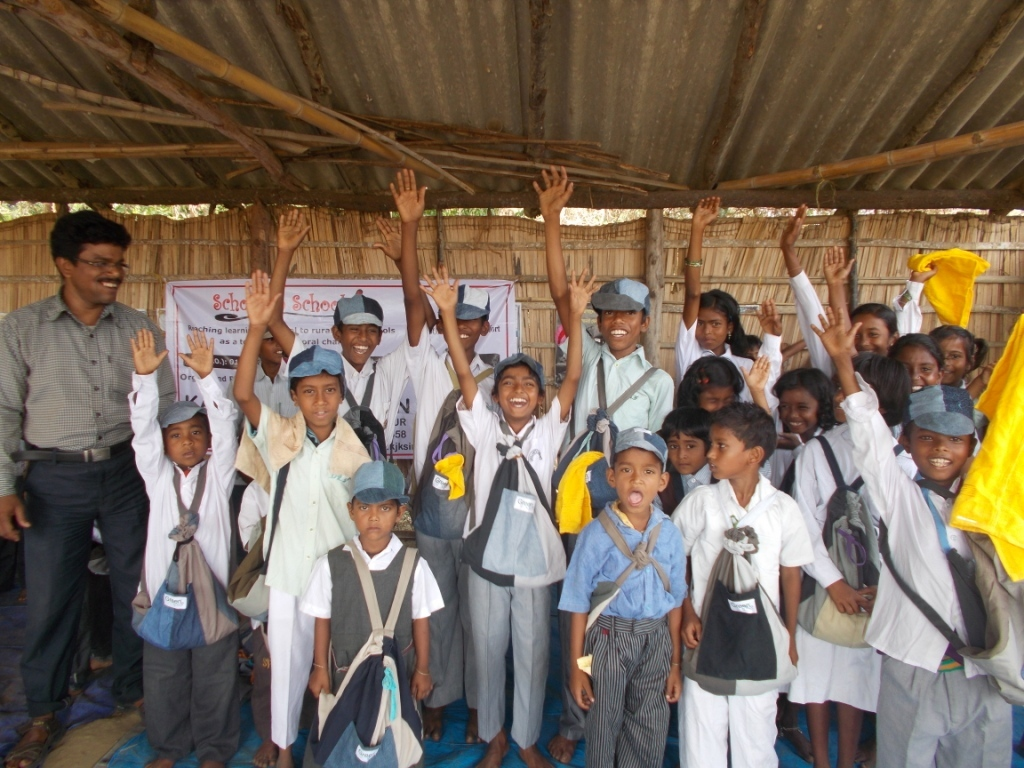 Children delighted to have received the school kit