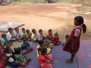 Children performing activities..