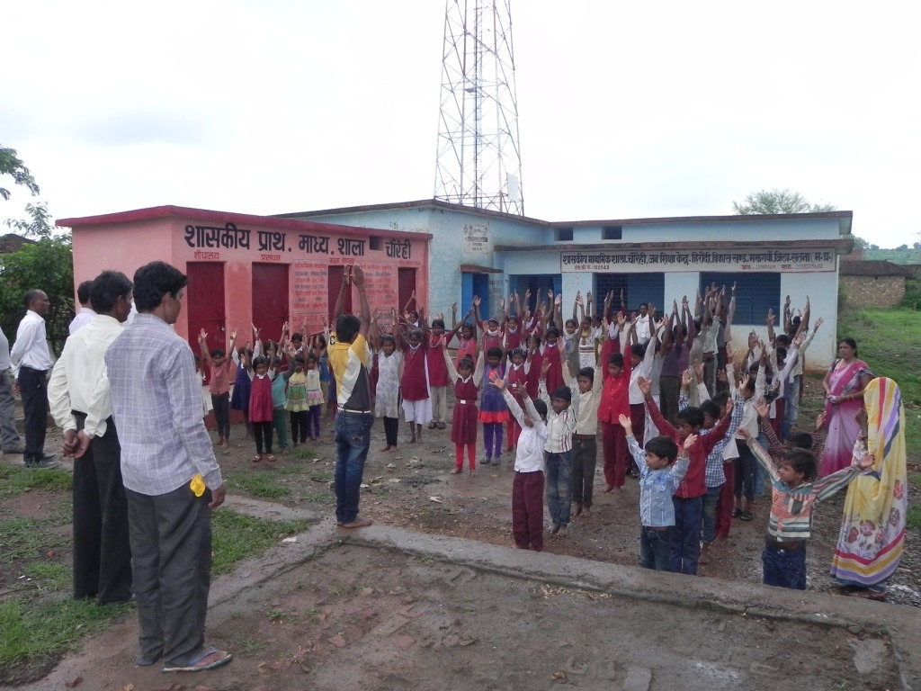 Children carrying out exercises..