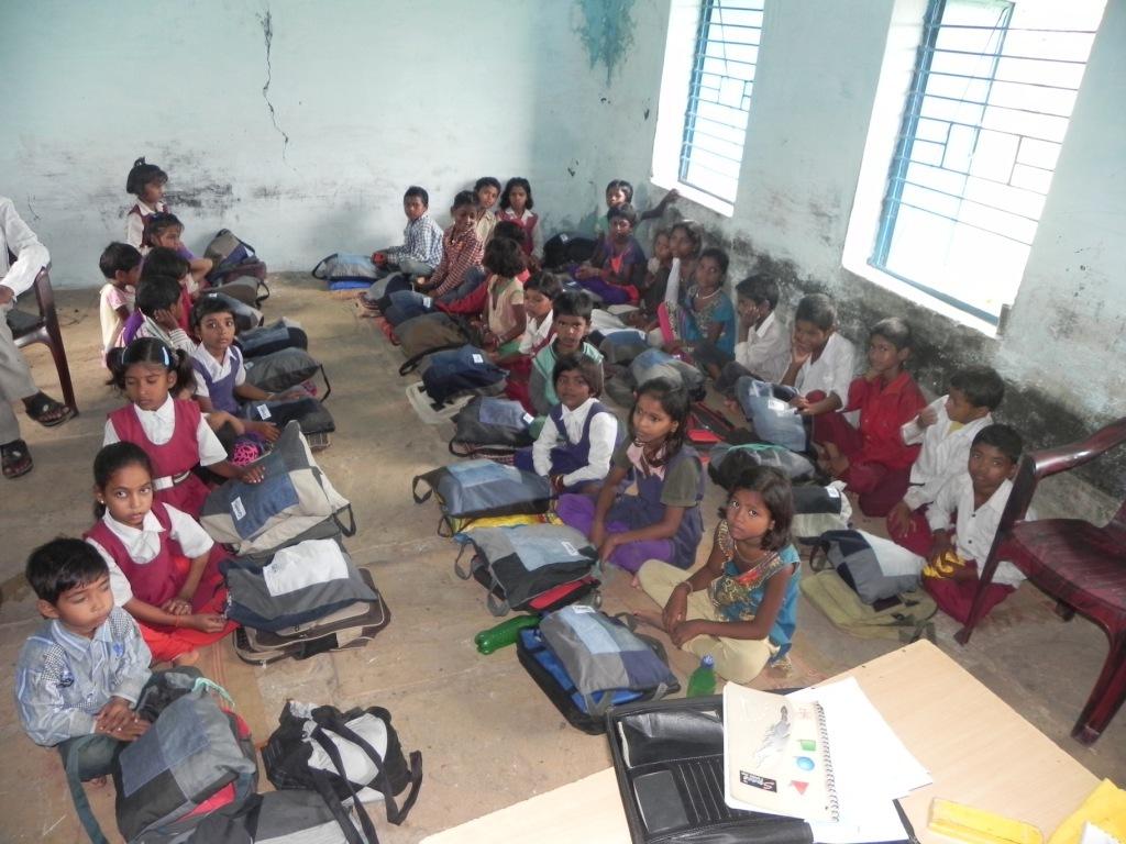 Children with their school kits...