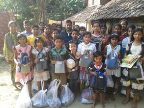 Parents are happy as their children receiving kits