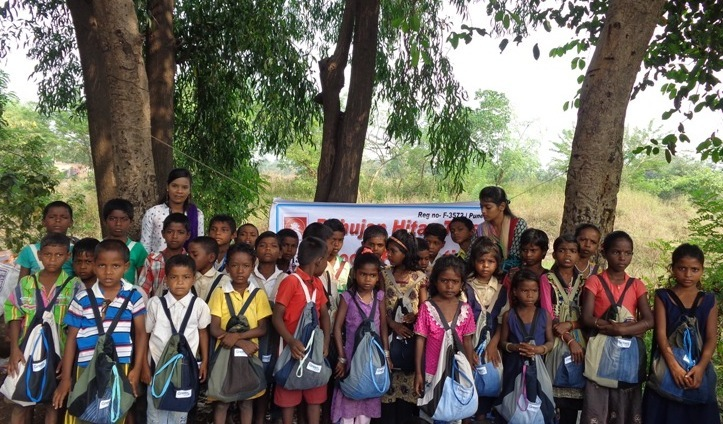 Children with school Kits..