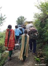 Children with school materials..