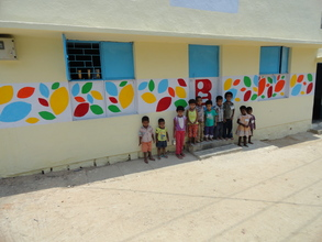 The children thrilled with the colorful design
