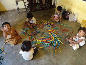 Children performing skill development activities
