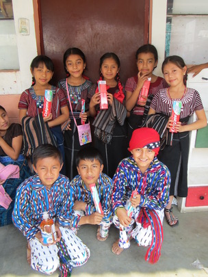 Receiving hygiene supplies at the schools