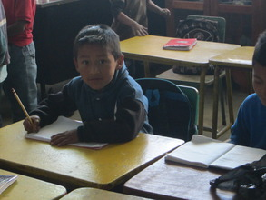 Kevin in his new 1st grade classroom