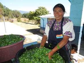 Mother volunteer preparing a delicious salad