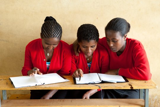 Secondary school students studying together.