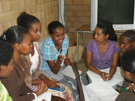 Peer educators working together.