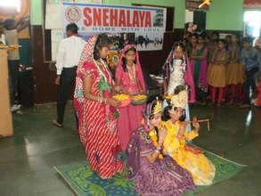 Radha-Krishna with Sakhas in Snehalaya School