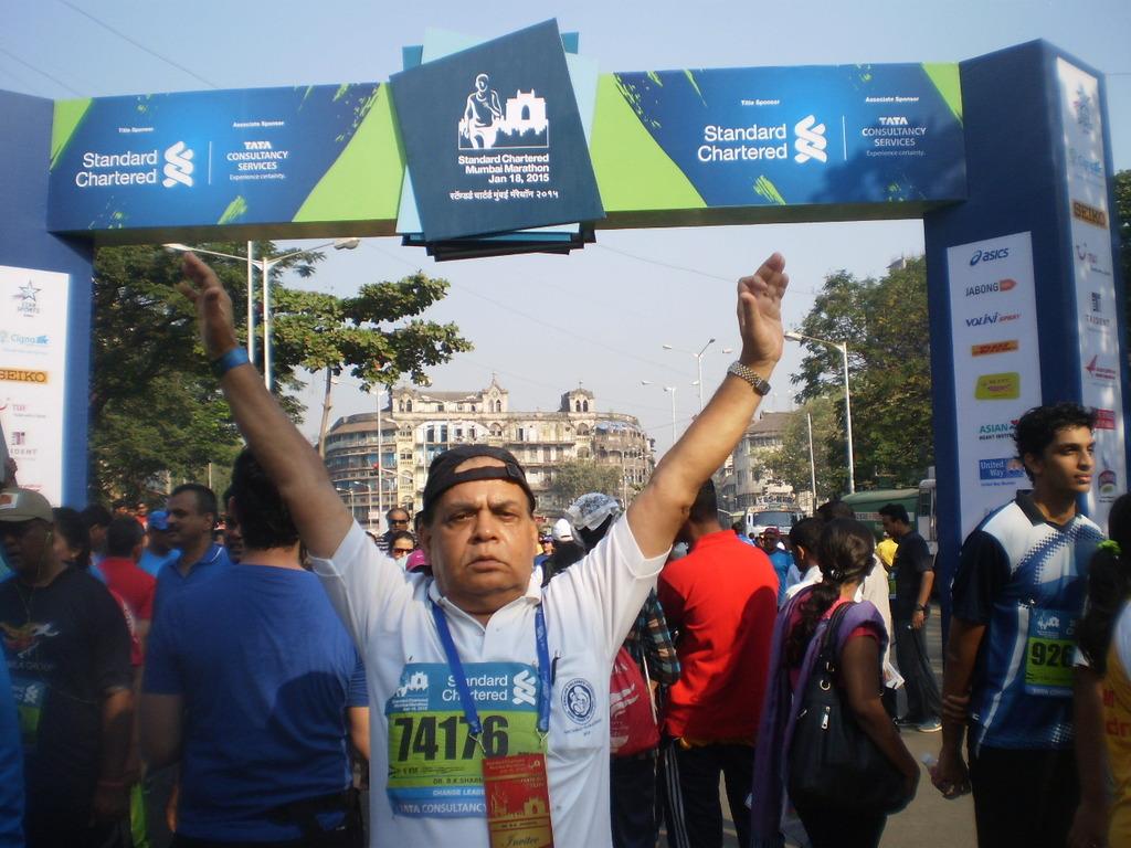 Dr. BK Sharma at finish line in Mumbai Marathon
