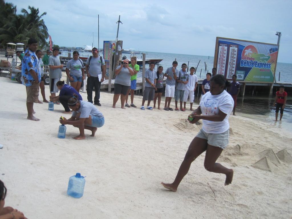 Sports Day - fill bottle with wet sponge water