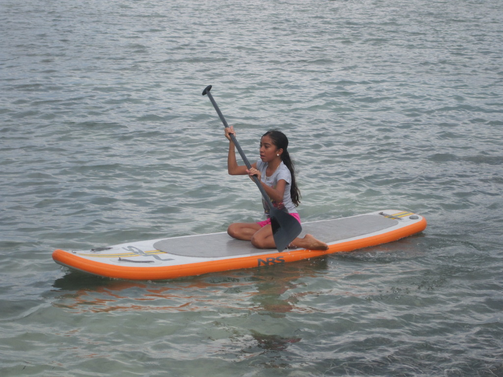 Lilly paddle boarding