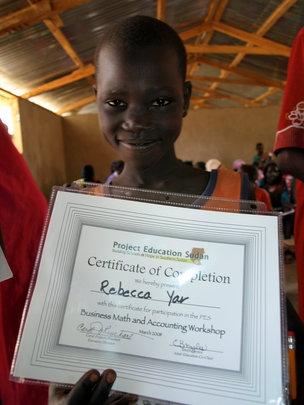 Getting her certificate