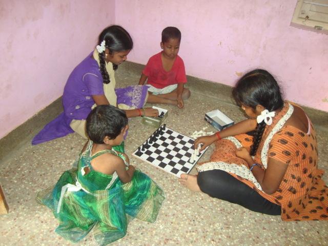 Rekha playing chess