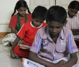 Children during their study time