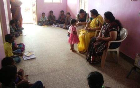 Geetha with visitors
