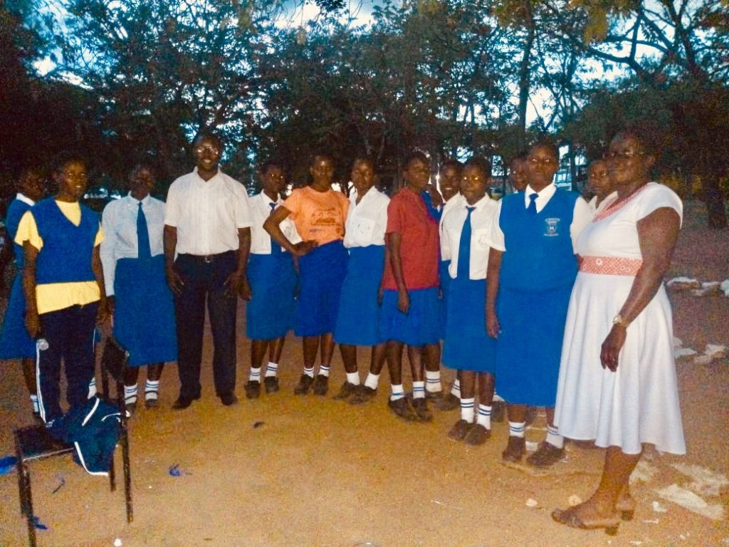 Mawego girls with Leonard, staff and Faith,teacher