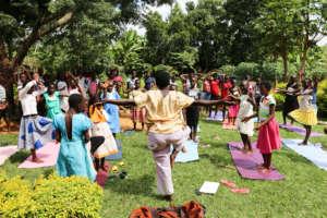 Yoga class in Shanti's back yard