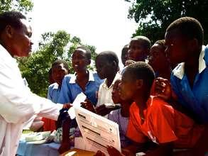 Head midwife Sr. Mary gives health education