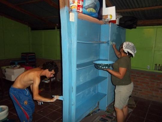 Local teacher Karla painting in Nicaragua