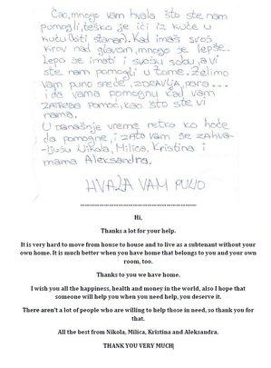 Letter from Aleksandra