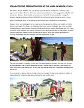 Solar Cooking Demonstration at the Mara in Narok (PDF)