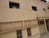 AB school, damaged window