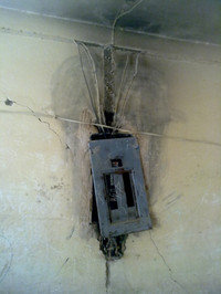 AL school, damaged electric equipment