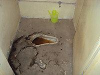 I school, damaged WC