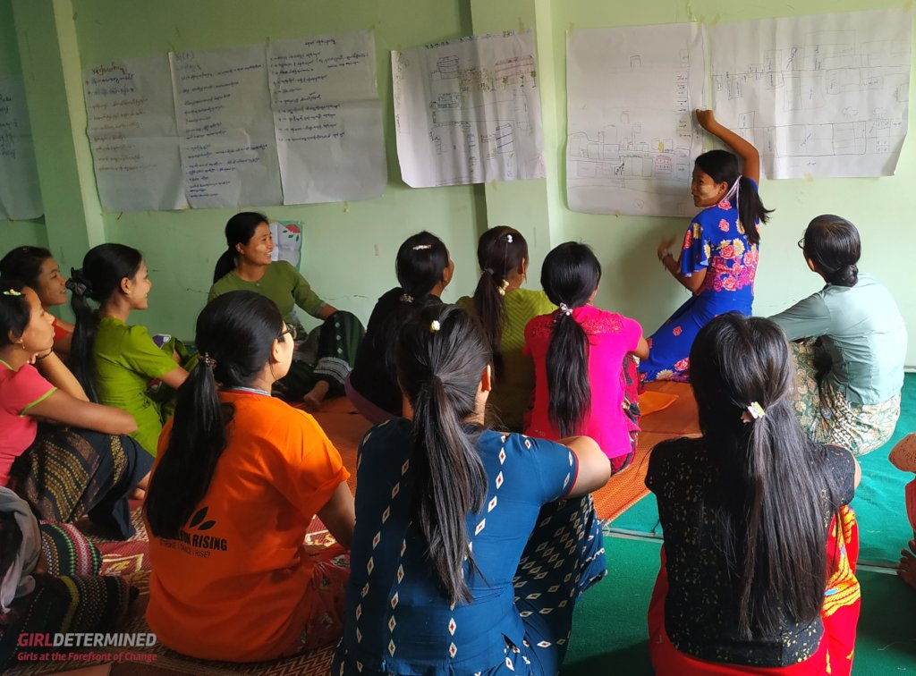 "Young women practice the ""Green Dot"" map activity"