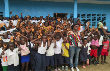 Children after a visit to Grand Bassa County.