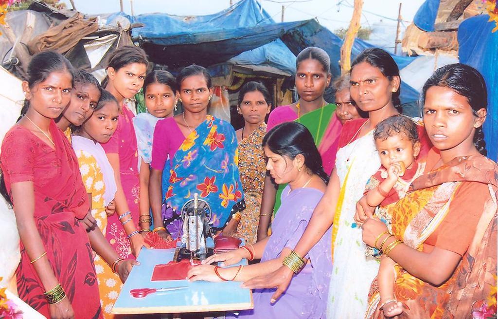 Sewing Instructor explaining the basics to women