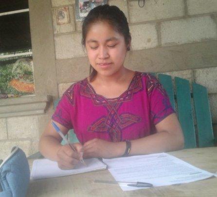 Ingrid studying at home