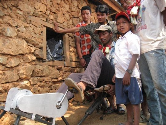 The PedalGenerator arrives in a village