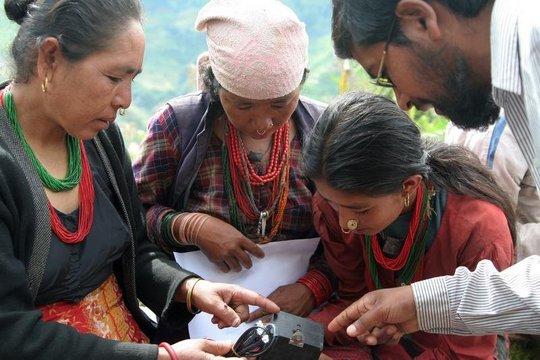 Training session for village women operators