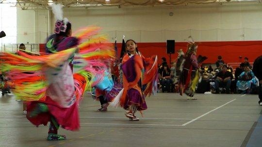 Girls dancing at an inter-tribal Pow Wow in Minn.