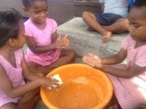 Hand washing with the kindy kids