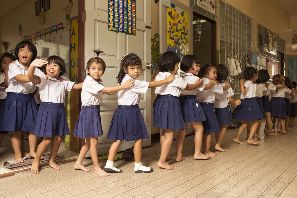 Our kindergartenkids line up on their way to lunch
