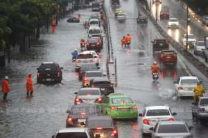 Streets in Bangkok flooded after downpour