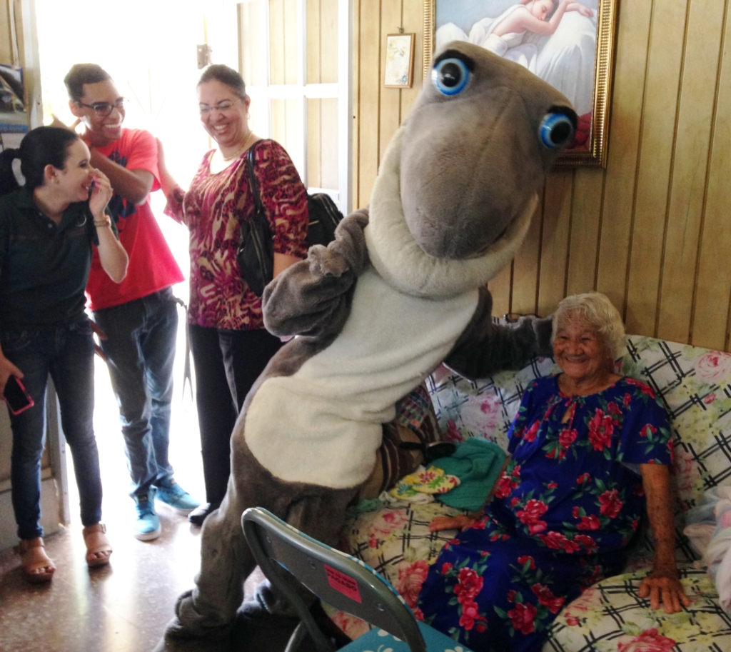 Sharky, the mascot, with elder