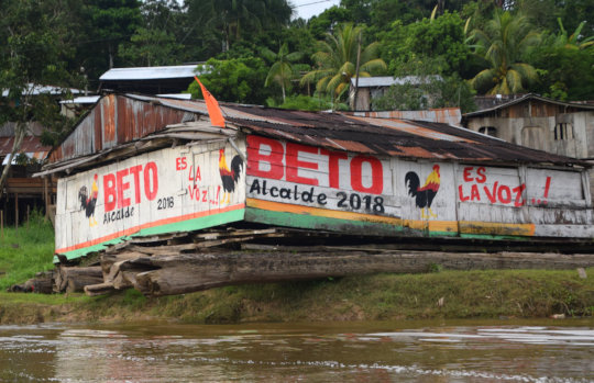 3. Mayor candidate mural on houseboat in Pebas